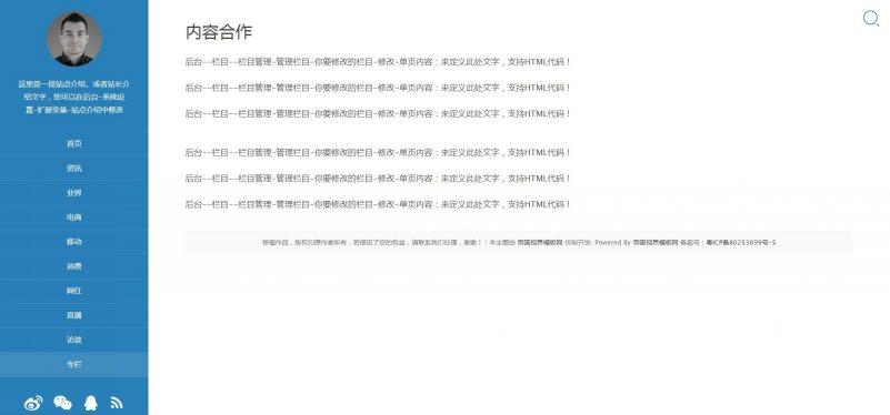 网站单页.jpg [DG-055]帝国CMS蓝色个人博客文章资讯模板(带四种不同列表展示风格) 博客文章 第7张