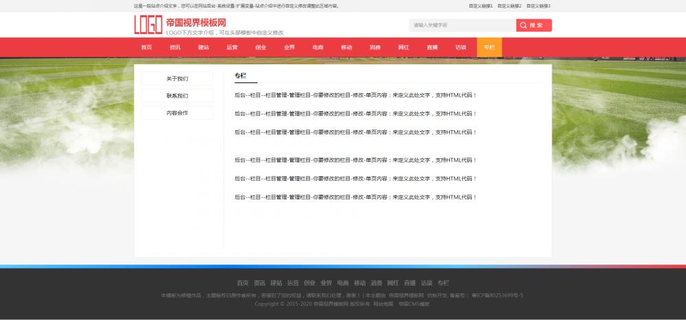 单页.png [DG-067]帝国CMS响应式红色体育新闻资讯文章新闻资讯模板 新闻资讯 第5张