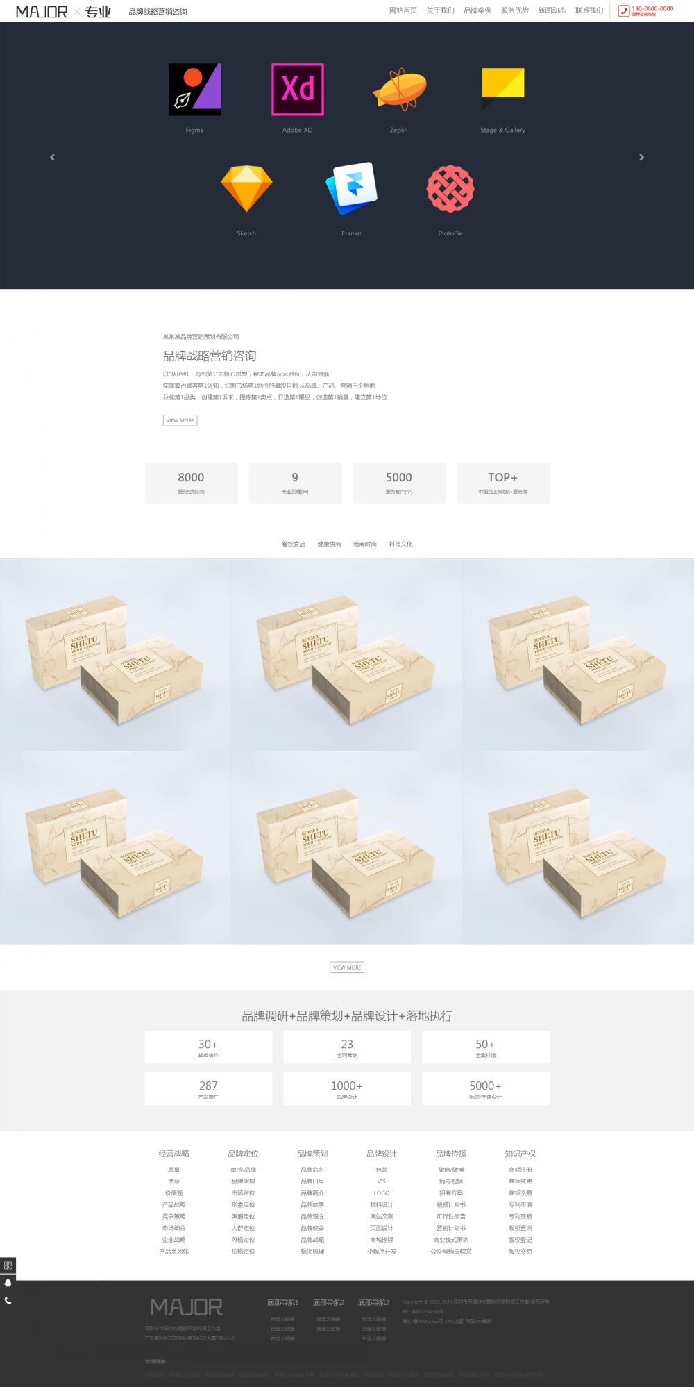 1网站首页.png [DG-116]响应式品牌战略营销设计帝国mcs模板 HTML5品牌策划设计类帝国网站源码 企业模板 第1张