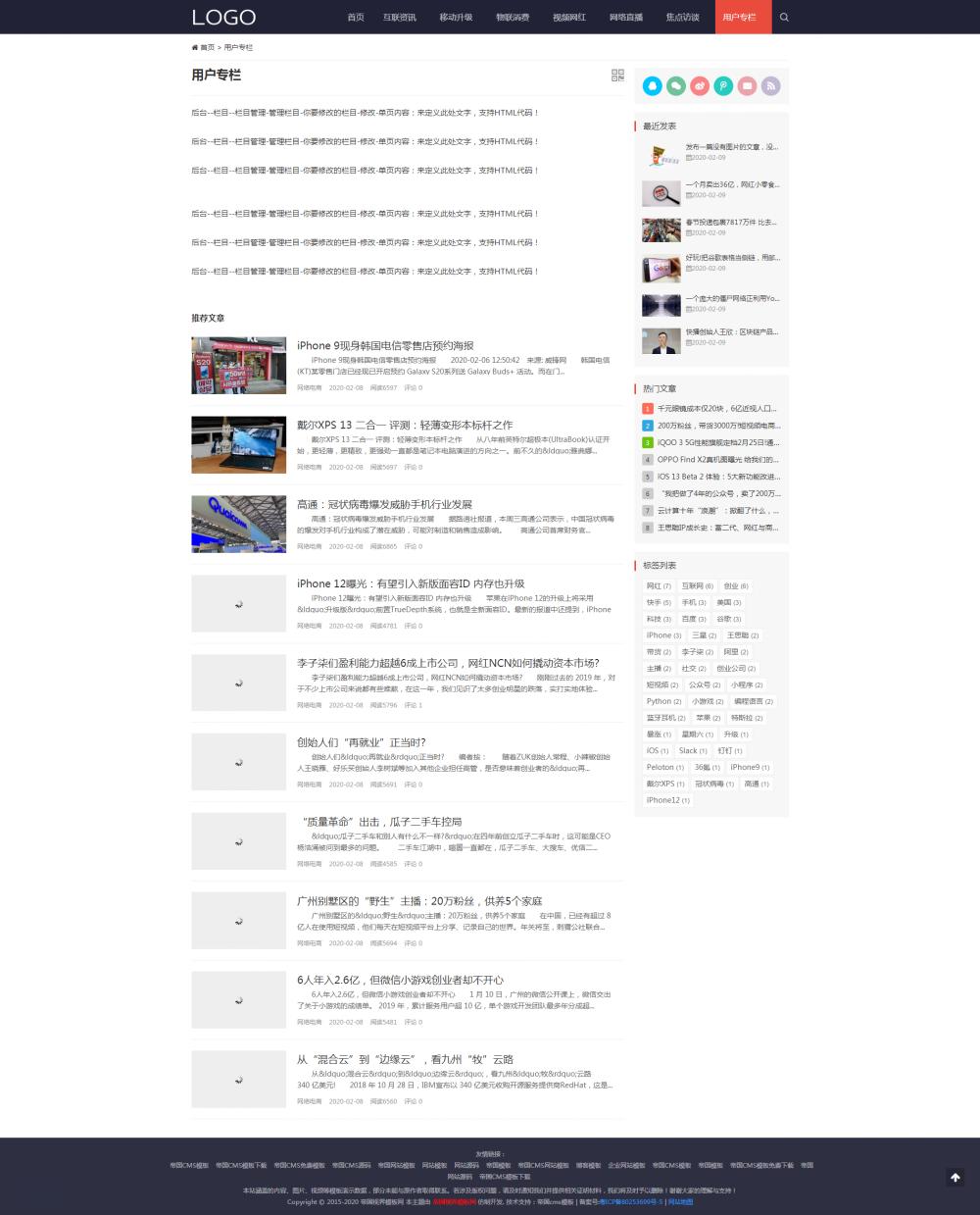 4栏目单页.png [DG-131]帝国CMS响应式资讯资讯模板,自适应个人文章博客资讯模板 新闻资讯 第4张